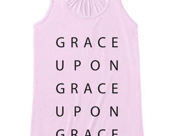Grace Upon Grace, Faith Scripture Tank Top, Women Workout Apparel, Illustrated Faith Christian T-shirt, Fitness Gift for Her