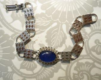 """1 Silverplated 7-1/2"""" Moodstone Bracelet"""