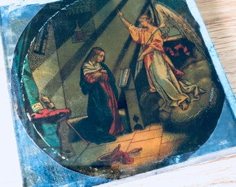 Beautiful religious 'magic lantern' slide - Mary and The Anunciation