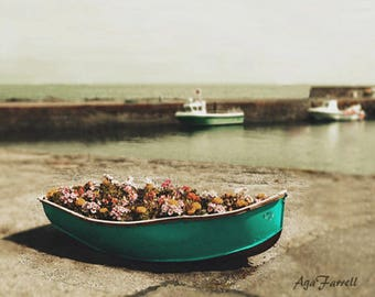 Boat Photography, Bathroom Art, Nautical Decor, Boat Print, Wall Art, Aqua Decor, Scotland, Flower Print, Sea Poster, Bathroom Wall Art