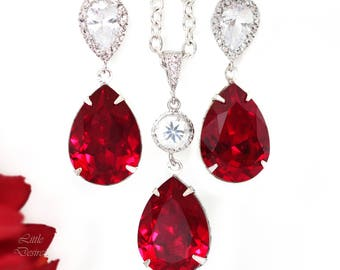 Red Earrings and Necklace Set Swarovski Crystal Earrings & Necklace Set Bridesmaid Gift Set Cubic Zirconia Dark Red Deep Red Crimson SI31JS