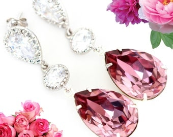 Light Pink Earrings Swarovski Crystal Earrings Antique Pink Pastel Pink Earrings Bridal Earrings Bridesmaid Long Earrings Blush Pink BP31PC