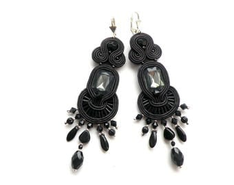 Earrings-Soutache Earrings, Handmade Earrings, Hand Embroidered, Soutache Jewelry, Handmade from Poland,  OOAK-Long Black