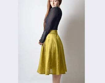 AUGUST 20 % OFF Yellow Midi Skirt in Silk, Silk Midi Skirt with Pockets, Ready to ship