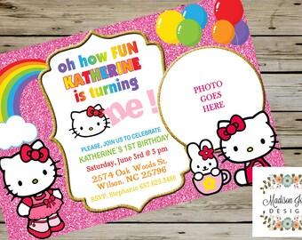 pink glitter hello kitty birthday invitation girl birthday party invitation digital file customized - Hello Kitty Party Invitations