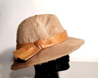 SALE Vintage Brown Calf Hat