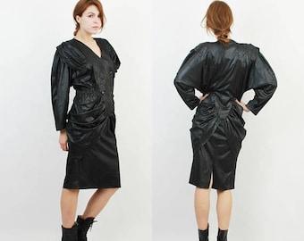 SALE 80s Black Dress / Bhatti Dress / Designer Dress / French Dress / Vintage Black Dress / Midi Dress / Long Sleeve Dress / XL Black Dress
