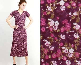 SALE Vintage Summer Dress / Jody California Dress / Purple Dress / Floral Dress / Boho Dress Size 12 US