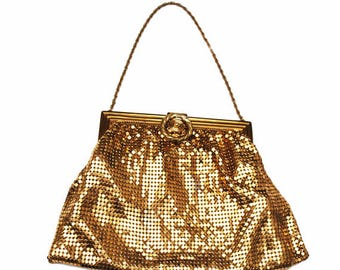 Whiting And Davis Purse - gold metal mesh  - Signed - Evening Bag Wedding Bride