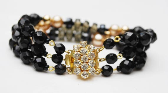 Rhinestone Bead Bracelet - Triple strand -  Black Glass -Rhinestone Clasp - Glass bead - pearl gold
