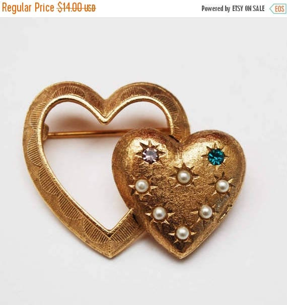 Double heart Brooch - Signed Emmons -  Pearls and rhinestones