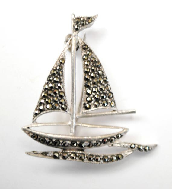 Sterling Sail boat Brooch  - Marcasite - Silver Boat - Nautical
