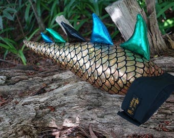 Smaller Gold Dragon Tail Costume. Optional Wings Crown or Mask Set! Dinosaur costume.