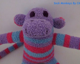 Fuzzy Sock Monkey Toy Pink Blue Purple Stripe Soft Plush Doll Handmade