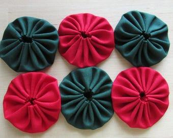 Yo yos 30 1 1/2  inch red and forest green solid Fabric YO YOS