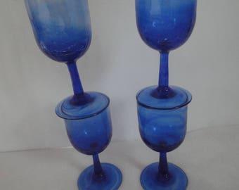 Vintage Hand Blown Cobalt Blue Stemware, Cobalt Blue Wine Glasses, Wine Glasses, Blue Wine Glasses, Cobalt Blue Wine Glasses, Stemware Blue