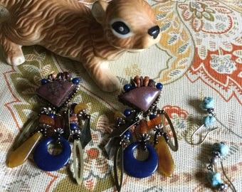 Unusual Vintage Assorted Sets of Pierced Earrings-Two Pair