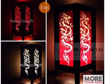 Asian Oriental Yakuza Dragon Japanese Lamp Zen Bedside Lamp Floor Table Lamp Paper Japanese Light Lamp Shades Bedroom Home Decor Living Room