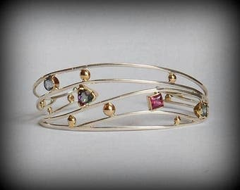 Vintage OOAK Artisan-Made Sterling and Pure 14k YELLOW GOLD Cuff -- Blue Topaz, Amethyst, Pink Tourmaline & Mystic Topaz, Excellent Cond.