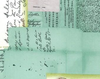 LAST 1/2 YARD -  Basic Grey Curio - Postcards - Green -  for Moda Fabrics - Pattern  #30270 - RARE Find!