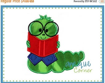 50% Off 015 Back to School Bookworm applique digital design for embroidery machine by Applique Corner