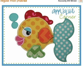 50% Off INSTAND DOWNLOAD Fish with Bubbles and 3D Fin Tail applique digital design for embroidery machine by Applique Corner