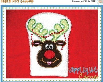 40% OFF INSTANT DOWNLOAD Christmas Reindeer Girl Pearls Bath Mitt applique digital design for embroidery machine by Applique Corner