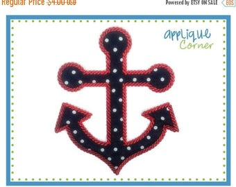 40% OFF 525 Nautical Anchor with Special Rope Stitch applique digital design for embroidery machine by Applique Corner