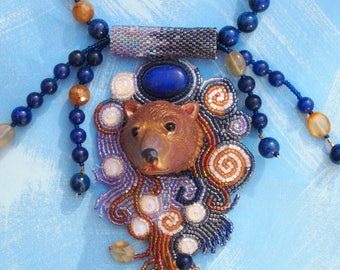 bear and bead embroidery necklace with lapis animal lover