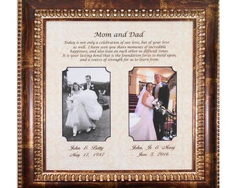 WEDDING GIFT PARENTS- Bride Gift to Parents- Groom Wedding Gift to Mom and Dad- Wedding Dates Personalized Picture Frame- 16x16 overall