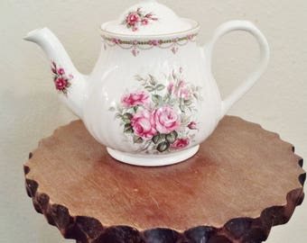 Vintage White Two Piece Teapot with Flowers by Arthur Wood and Son, Staffordshire, England