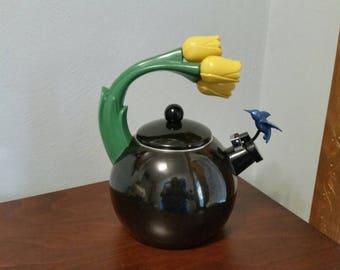 Black Enameled Whistling Kettle with Hummingbird & Tulips