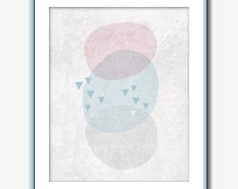 Abstract Print,  wall art, modern minimalist, pink gray blue beige. Printable digital download scandinavian style triangles circles concrete