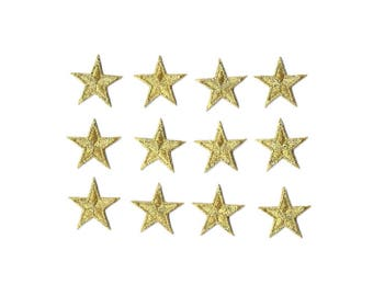 """ONE DOZEN - 12  - Embroidered Gold Edged Stars Iron On Patches - 1 5/8"""""""