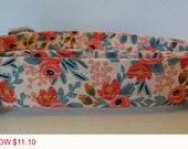 """Dog Collar - Vintage Inspired Peach & Coral Floral Dog Collar """"Amber"""" - Free Colored Buckle"""