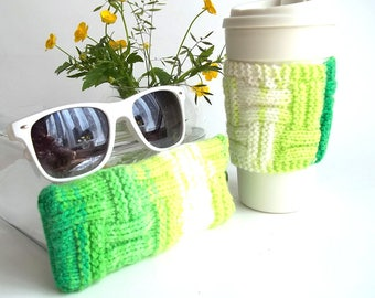 Set of 2. Neon Green and White Glasses Case and Coffee Cup Cozy. Wonderful Gift For You