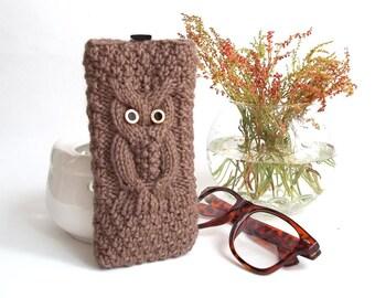 Brown Owl Glasses Case. Eyeglasses Case. Sunglasses Holder. Sunglasses Case. Reading Glasses Case. Glasses Holder.