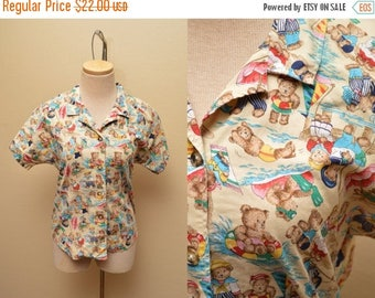 ON SALE 80s Teddy Bears at the Beach Patterned Collared Vacation Shirt Women's Medium