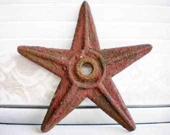 Antique Cast Iron Star In Red Original Finish, Price for 1/Architectural Salvage Metal Star/Farmhouse/Primitive Star/Candle Holder/Holiday