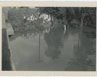 Baptism in River, c1940s: Vintage Photo Snapshot (77591)