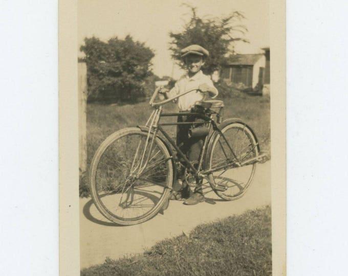 Vintage Snapshot Photo: Boy & Bicycle, c1920s-30s (711619)
