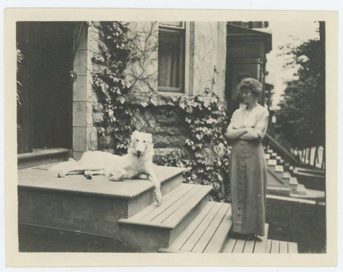 Vintage Snapshot Photo: Woman with Borzoi Hound, c1910s (711620)