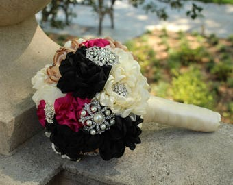 Bridal Fabric and Brooch Wedding Bouquet