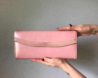 Vintage 60s Oversized Pink Leather Clutch