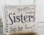 Sisters Gift Quote Word Pillow