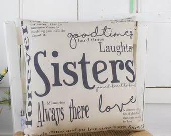 Sisters Gift Quote Word Pillow Cushion Birthday present for your Sister