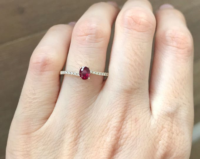 Ruby Bypass Engagement Ring- Solitaire Ruby Promise Ring- Ruby Anniversary Ring- Simple Ruby Engagement Ring- July Birthstone Ring