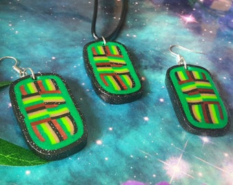 Psychedelic polymer clay layered necklace and earrings