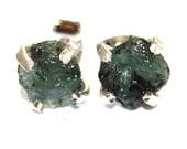 Raw Emerald Stud Earrings Silver Emerald Stud Organic Earrings Silver Emerald Jewelry May Birthstone Earrings Emerald Raw Gemstone Earring