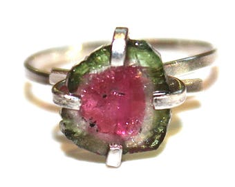 Medium Watermelon Slice Tourmaline Ring Tourmaline Ring Raw Ring Adjustable Ring Watermelon Tourmaline Slice Tourmaline Jewelry Delicate